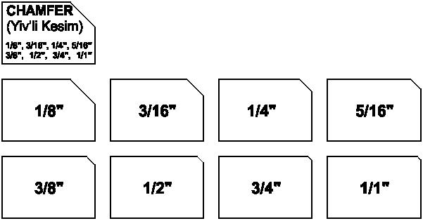 Chamfer - Yivli metal kesim şekilleri