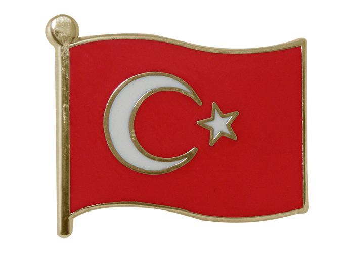 Tbr13 Dalgalı Türk Bayrağı Rozeti Mineli 22mm