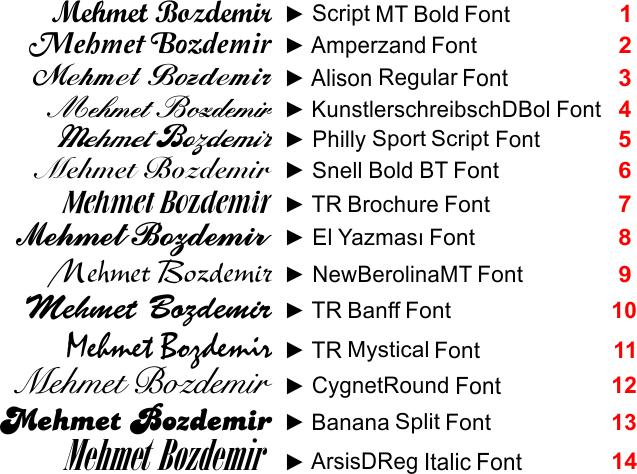 Klasik masa isimliği fontlari düz ve tirnakli karakterler