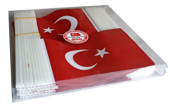 TC3 Sopalı Kağıt Türk Bayrağı - Selefonlu kutulu