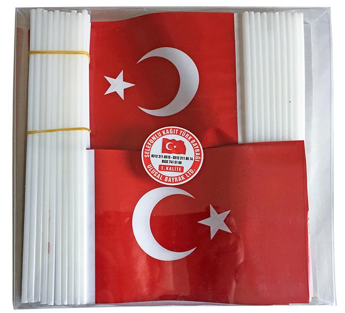 Plastik Sopalı Kağıt Türk Bayrağı - Selefonlu TC3